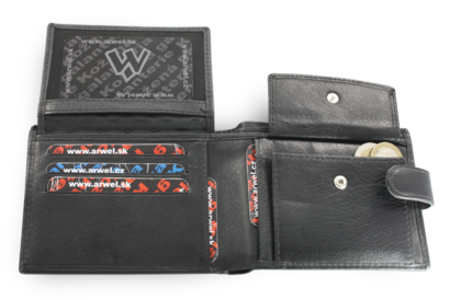 Černá pánská kožená peněženka se zápinkou