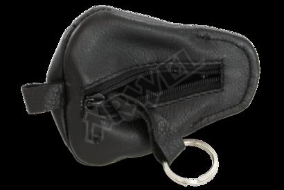 Černá kožená klíčenka ve tvaru čepičky