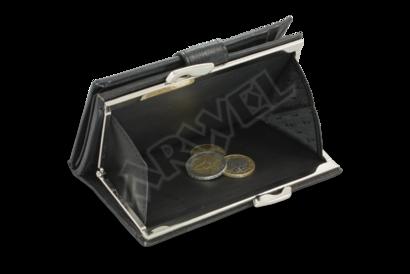 Černá dámská kožená rámová peněženka se zápinkou