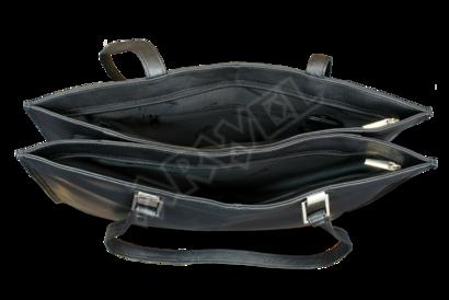 Černá kožená třízipová kabelka