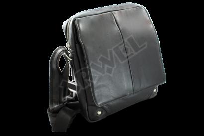Velký černý kožený pánský crossbag
