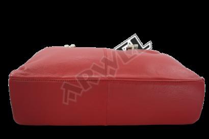Červená kožená zipová kabelka se dvěma popruhy