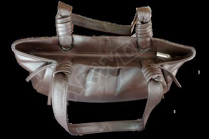 Tmavě hnědá kožená zipová kabelka se dvěma popruhy