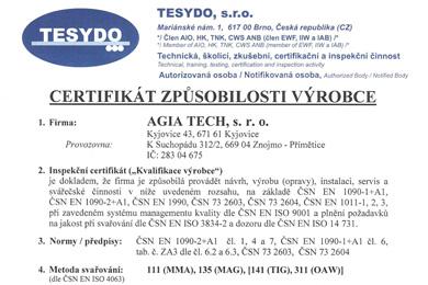Certifikat zbpůsobilosti výrobce