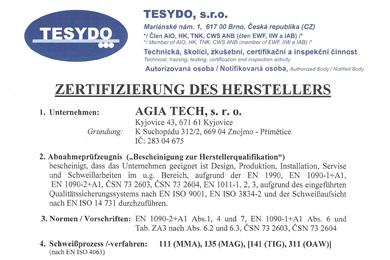 Certifikat způsobilosti výrobce