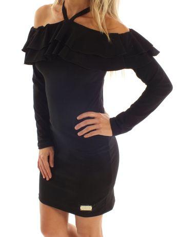 Společenské černé šaty s volány