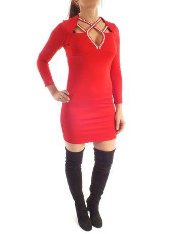 Luxusní šaty s kamínky v dekoltu červené