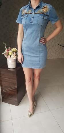 Zdobené jeanové šaty velikost XL (42)