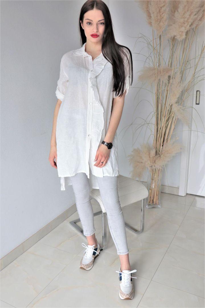 Delší lněná bílá košile