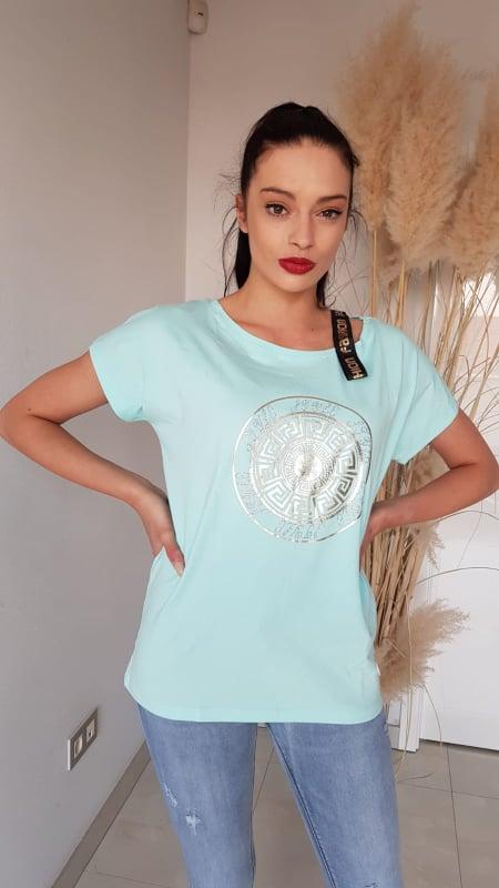 Tričko zelinkavé s nápisem Fashion a se zlatým potiskem vel. UNI