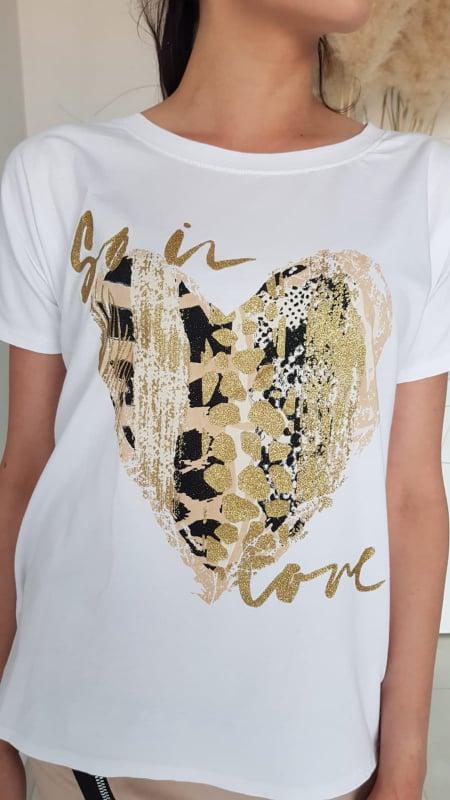 Tričko s potiskem srdce zlaté vel. UNI