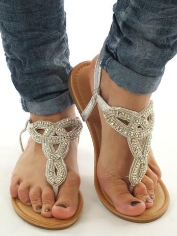 Sandálky stříbrné, s kamínky