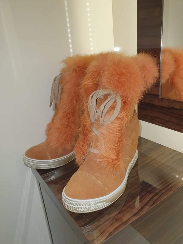 Kožené kamel boty na klínku boty vel. 37