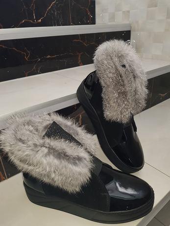 Černé kožené boty vel. 36