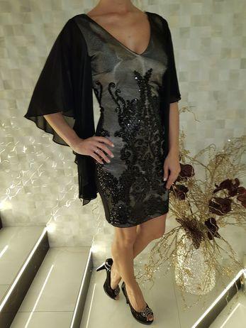 Společenské šaty s flitry a volánky Vel.S