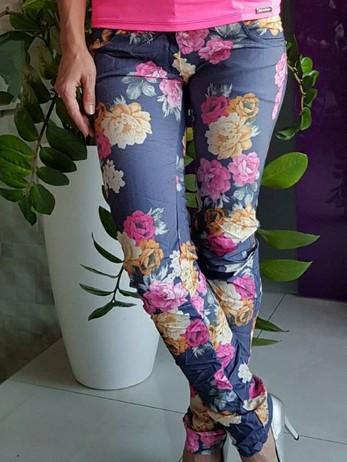 Květované Kalhoty tm.Modré Vel.S