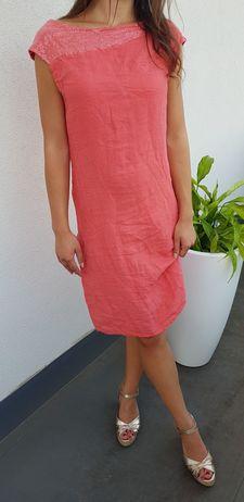 Šaty melounové s flitry v dekoltu vel. M