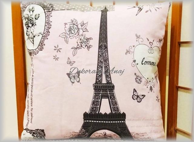 Polštář růžový Paříž